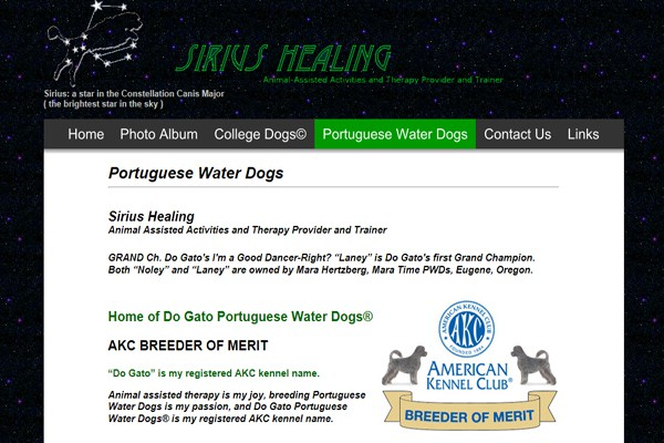 Animal Assisted Activities Trainer and Portuguese Water Dog Breeder - Seattle, Washington